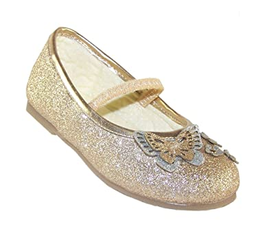 b72560dde4dae The Sparkle Club Filles Paillettes dorées fête occasion spéciale Ballerine  Chaussures - Or - doré