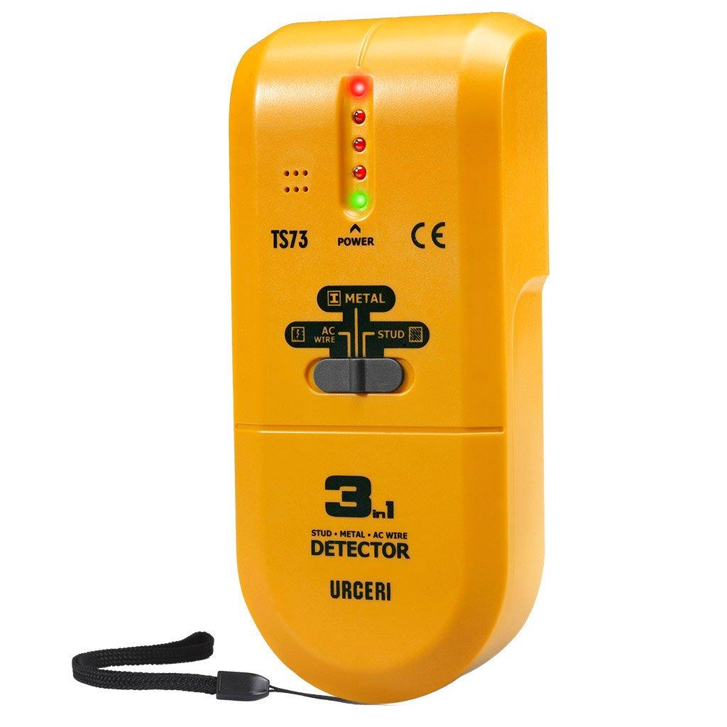 URCERI 3 in 1 Ortungsgerä t TS73 - Multifunktions Detektor Wand Scanner mit eingebautem Summer Sound Warnung und LED-Licht Signalanzeige fü r Metall, AC Wire, Holz