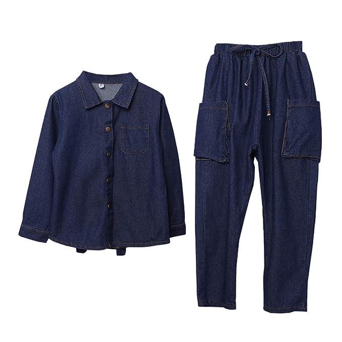 estilo máximo tecnologías sofisticadas varios estilos SXSHUN-Conjunto de Chaqueta Vaquera + Pantalones para Niñas ...
