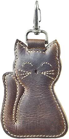 Hide & Drink, Leather Cat Keychain/Animal Keychain/Stuffed Animal Ornament/Cat Ornament/Cat Lover Essentials, Handmade :: Bourbon Brown