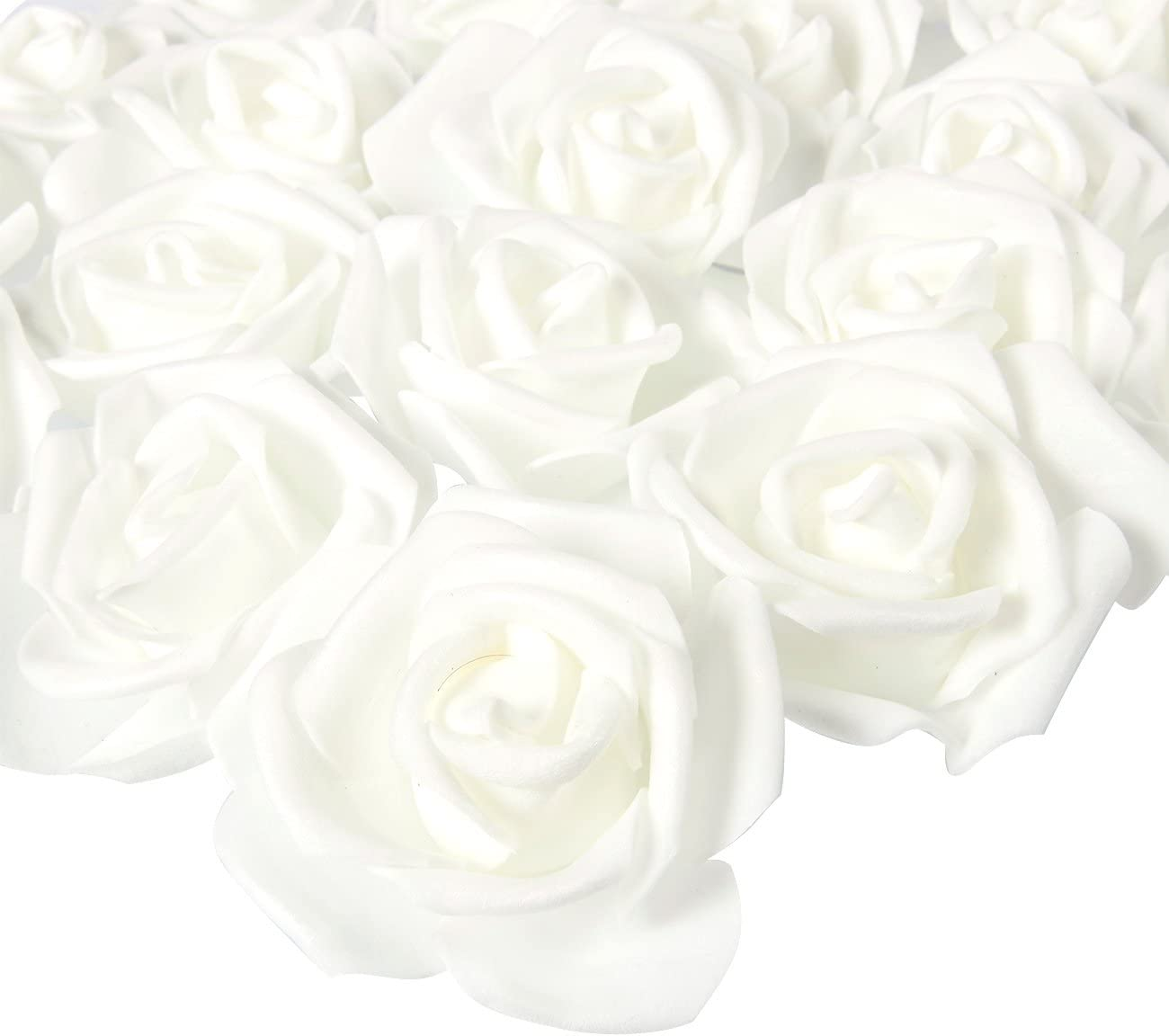 Stemless Rose Flower Heads, Artificial Roses for Weddings and Crafts (3 x 1.25 x 3 in, White, 100 Pack)