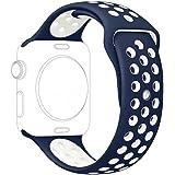 Ontube para Apple watch Correa Nike + Serie 1 Serie 2, Soft Silicona Estilo Deportivo Reemplazo para iWatch Correa M/L 42mm Marino/blanco
