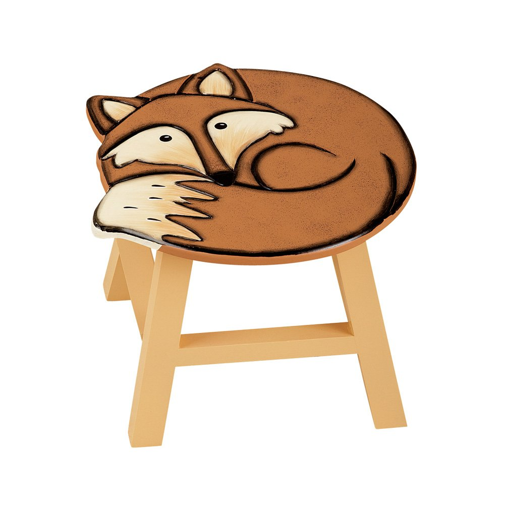 Collections Etc Decorative Animal Wooden Foot Stool, Fox