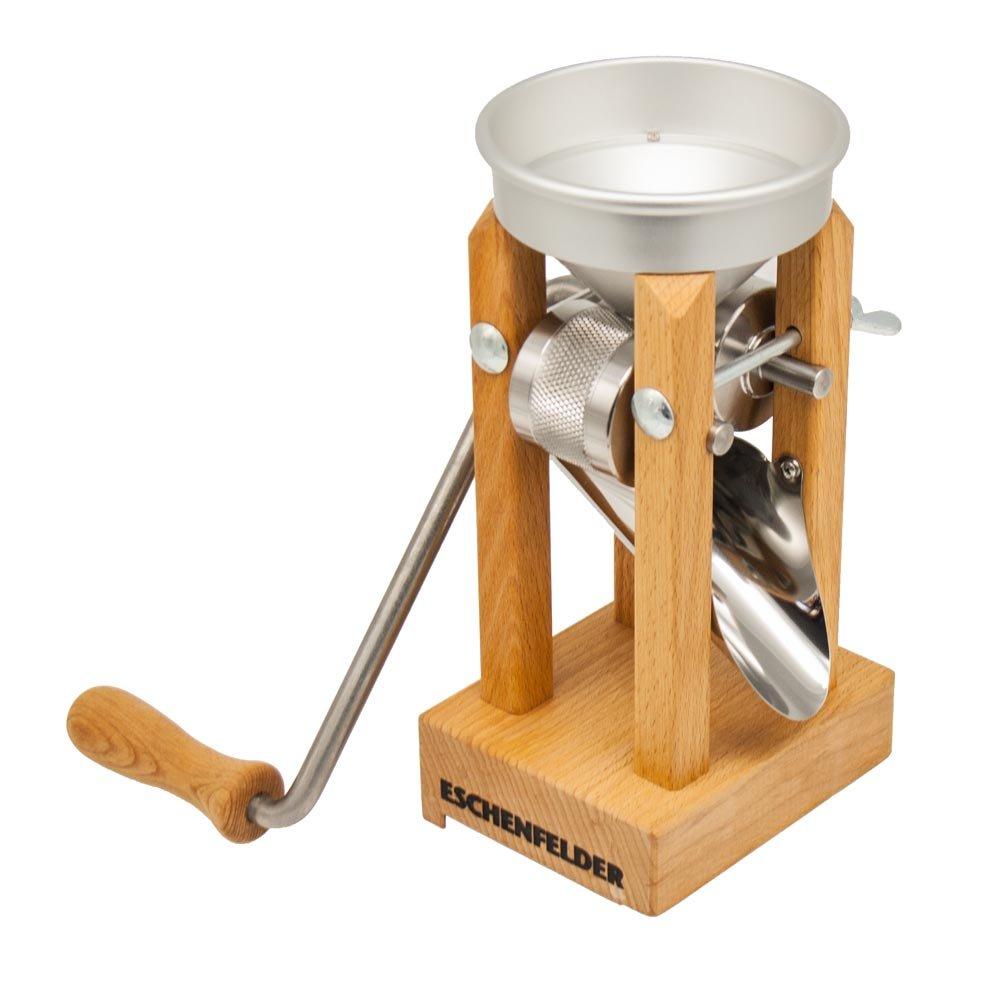 Eschenfelder, attrezzo per schiacciare il grano, modello da tavolo, con imbuto in alluminio