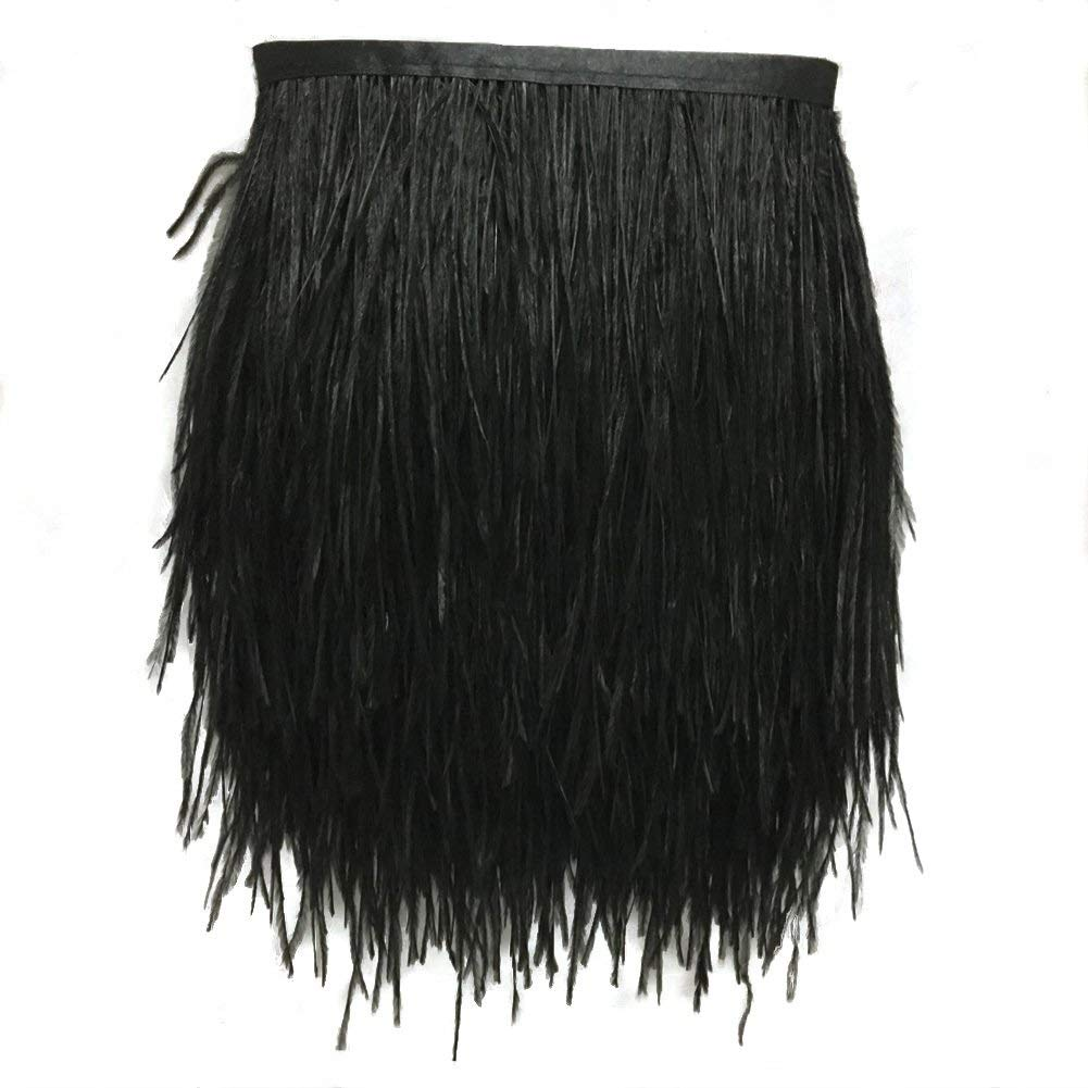 Clothing DIY Black WIBEN Pack of 2 Yards Natural Dyed Ostrich Feathers Trim Fringe 4inch Width for Dress Sewing Crafts