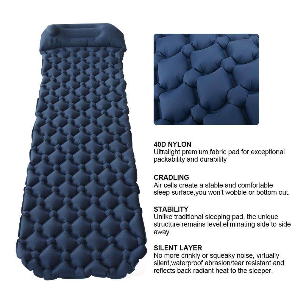 Hiking with Eye Mask Earplug Ultralight Waterproof Inflatable Air Camping Mat Built wwhuaus Camping Sleeping Pad in Hand Press Pump and Pillow for Backpacking,Travel
