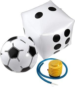 Yangmg PVC Inflable Juego de Juguete de los Dados Bomba Infladora de Pelota de Fútbol Blanca for Niños Adultos Jugando Playa Piscina Juguetes Decoración del Partido: Amazon.es: Juguetes y juegos