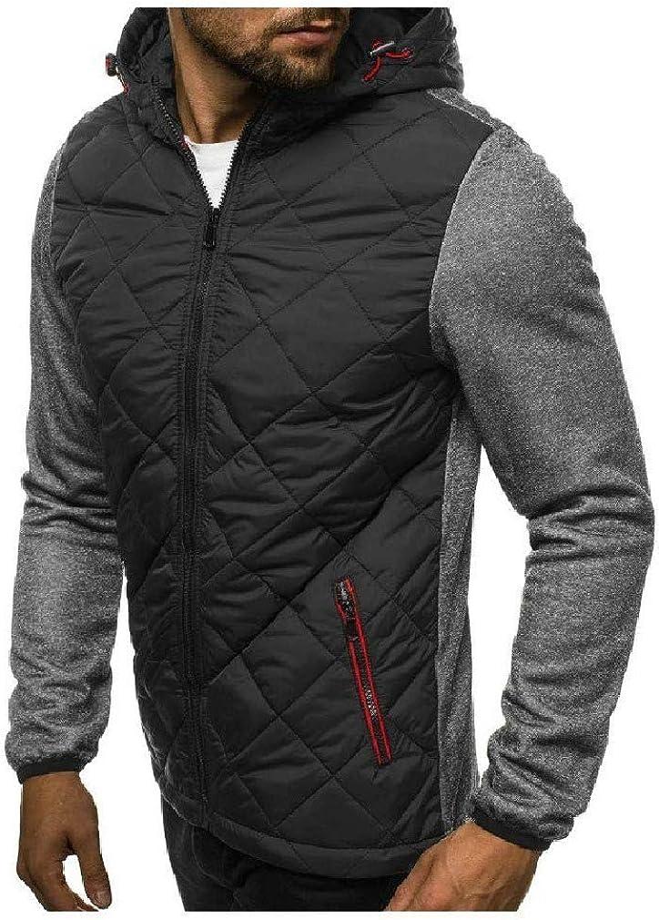 HEFASDM Men Pocket Plaid with Hoodie Zip Colorblock Loose Tunic Sweatshirt