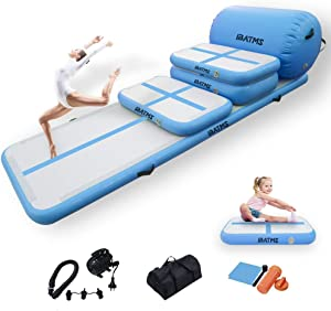 DAIRTRACK IBATMS Air Tumble Track Mat,5PCS Inflatable Gymnastics Air Mat for Gymnastics Training/Home Use/Cheerleading/Yoga/Water with Electric Pump