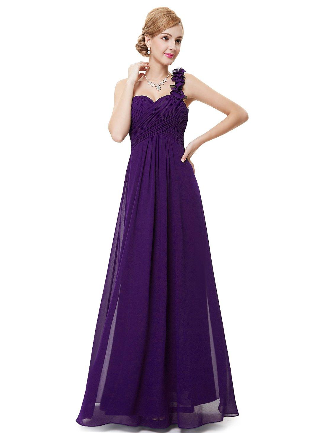 Ever-Pretty Juniors One Shoulder Empire Waist Long Prom Dress 10 US Purple