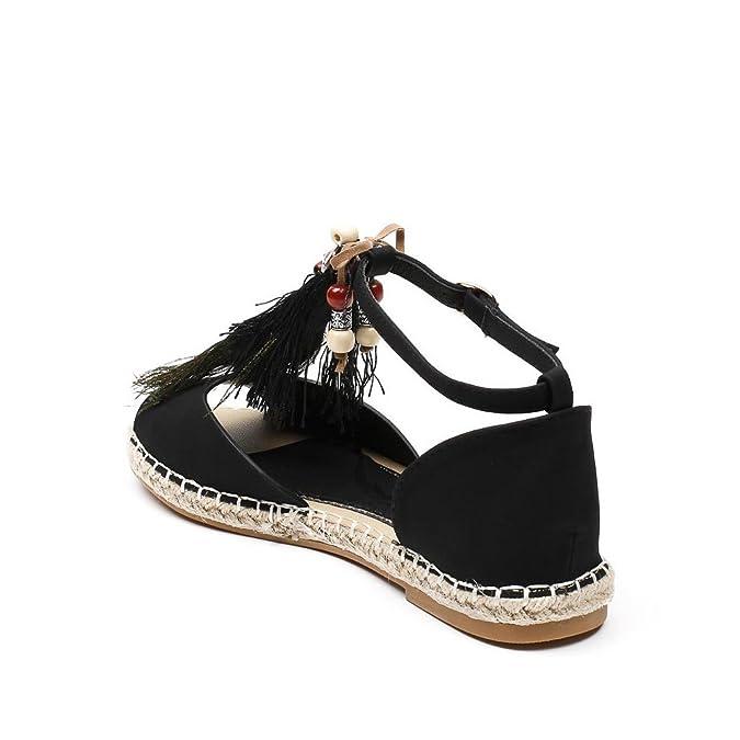 f0a9c385bbd06 Ideal Shoes Sandales Plates Avec Franges Et Bijoux Décoratifs Gialina Noir  41  Amazon.fr  Chaussures et Sacs