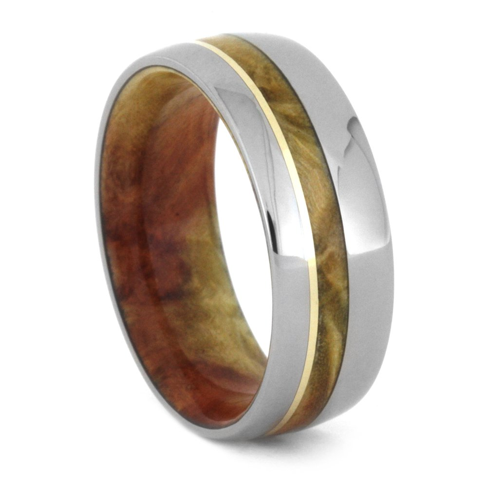 Flame Box Elder Burl, 14k Yellow Gold 8mm Comfort-Fit Titanium Wedding Band, Size 4.75 by The Men's Jewelry Store (Unisex Jewelry) (Image #1)
