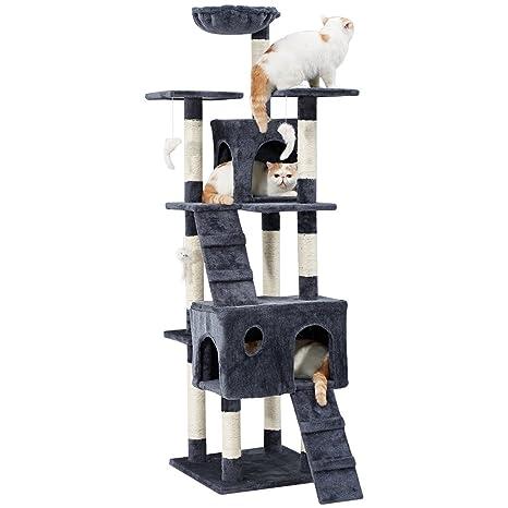LANGRIA Rascador para Gatos Árbol 173 cm Alto Casa para Mascotas con Hamaca, Casita, 10 Rascadores y Juguetes Interactivos para Gatos para Jugar ...