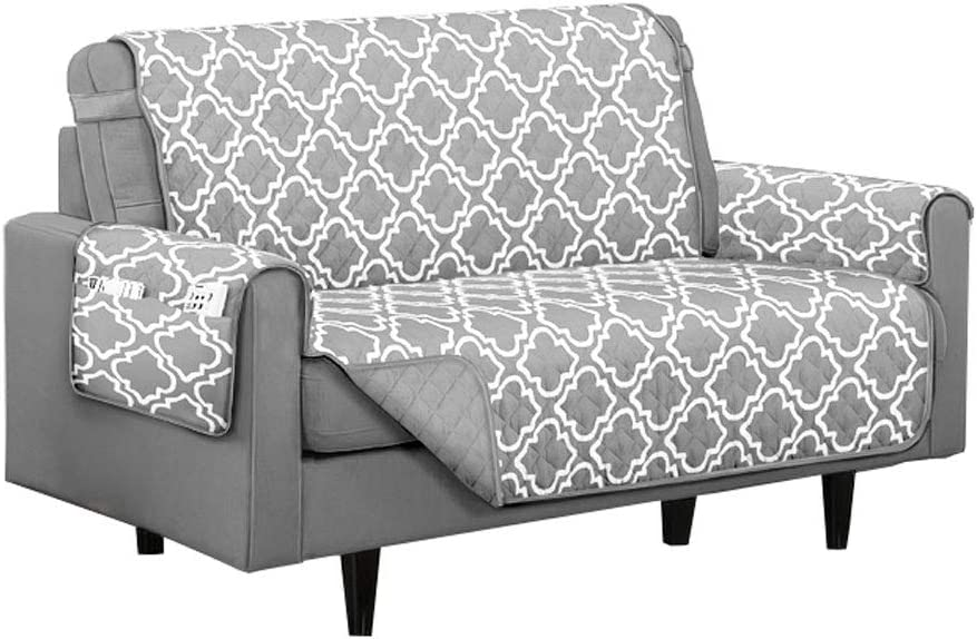 Austin Reversible Solid/Print Microfiber Furniture Protector with Strap & Side Pockets (Loveseat, Grey)