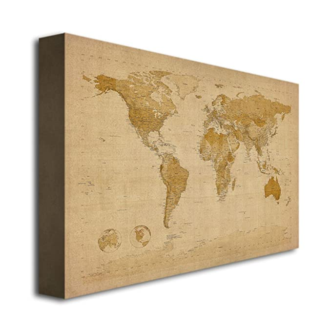 Amazon antique world map by michael tompsett 30x47 inch amazon antique world map by michael tompsett 30x47 inch canvas wall art prints posters prints gumiabroncs Images