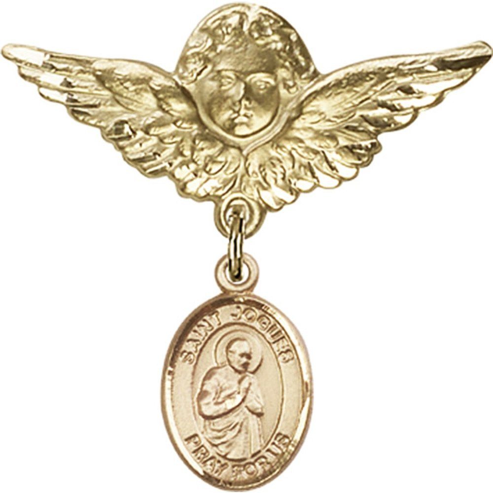 Gold Filled Baby Badge with St. Isaac Jogues Charm and Angel w/Wings Badge Pin 1 1/8 X 1 1/8 inches by Unknown