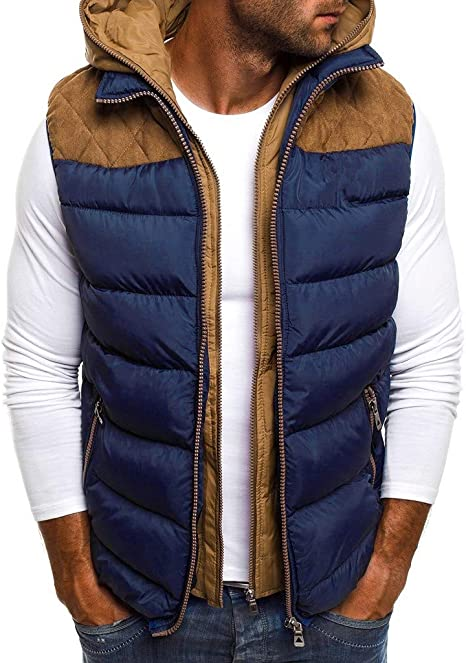Britainlotus Mens Winter Puffer Down Vest Quilted British Button Down Vest