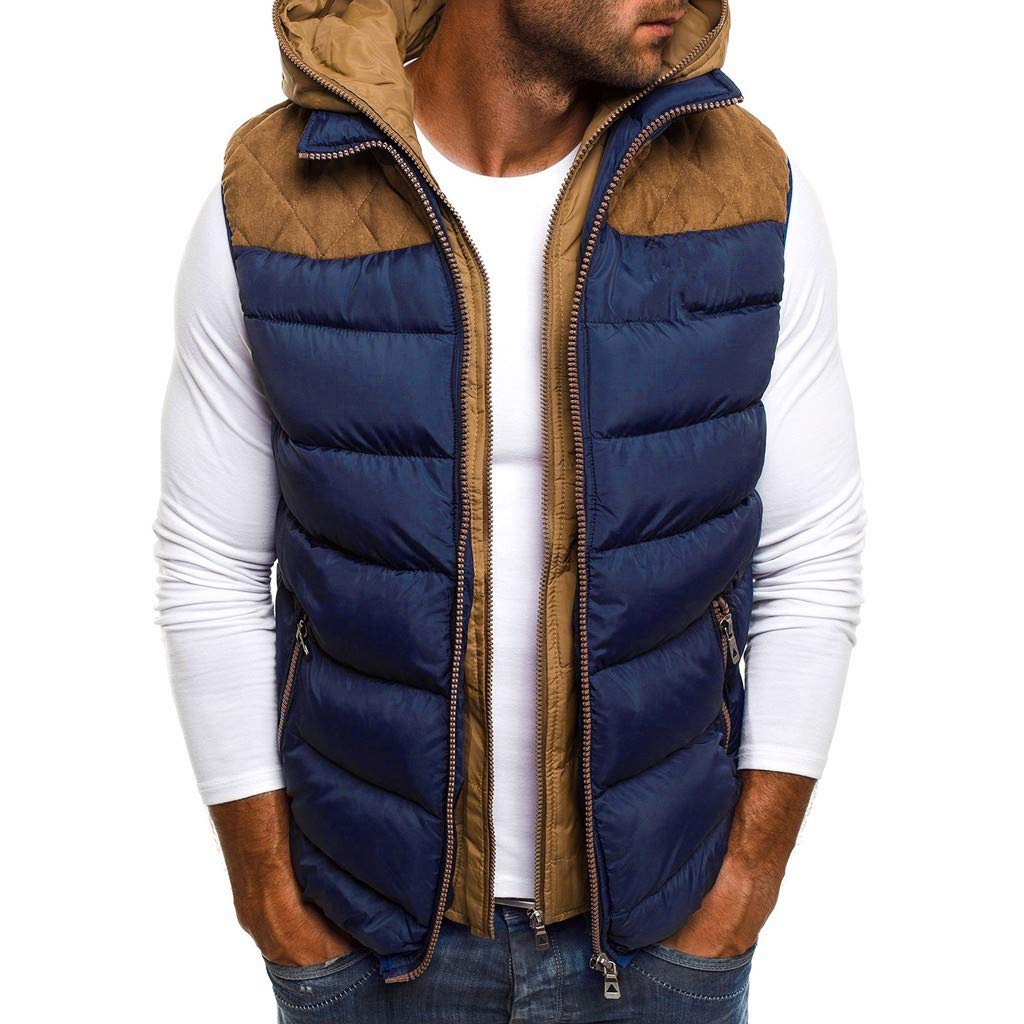 Funnygals - Men's Down Gilet Coat Vest Lightweight Packable Sleeveless Puffer Jacket Hoodies Waistcoat with Zip Pockets Dark Blue by Funnygals - Clothing