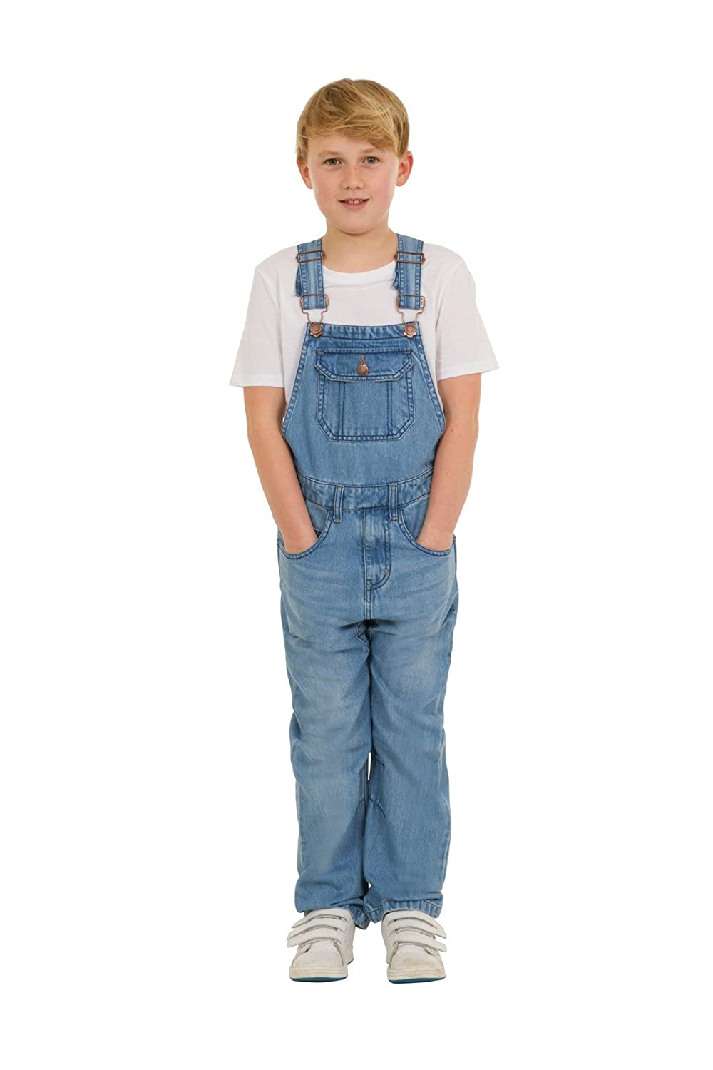 Uskees Tom Kids Slim Fit Dungarees - Palewash Childrens Denim Overalls TOMPW