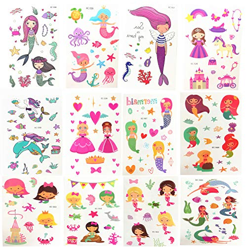 Oexper 12 Sheets of Mermaid Temporary Tattoos Cartoon Crown Princess Tattoo Stickers for Girls Boys Kids Adults – Great for Mermaid Party Supplies Party Favors Stocking Stuffers -