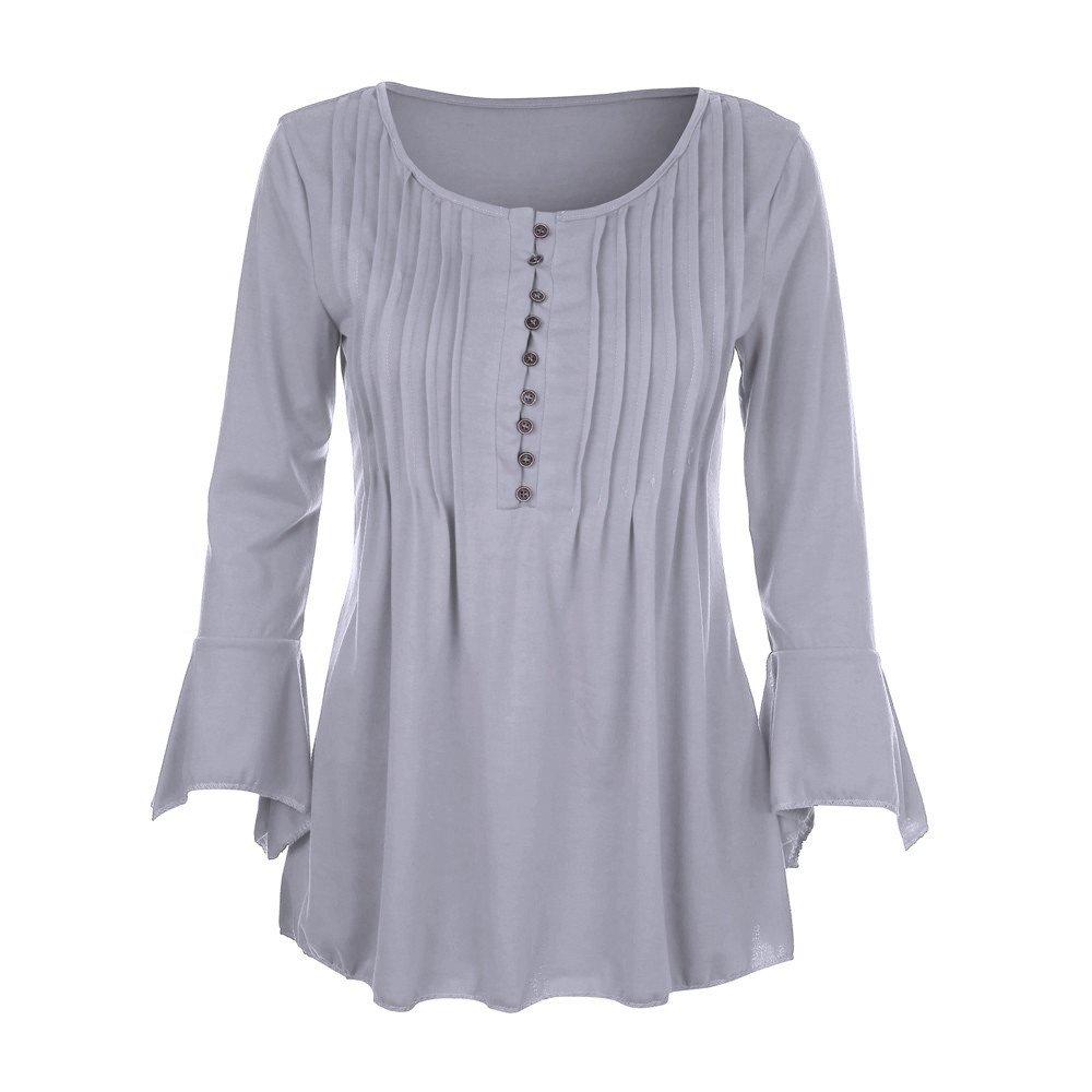 KaiCran Sweatshirt For Women Flare 3/4 Sleeve V Neck Buttons Blouse Tops Ladies T-Shirt Tunic Tops (Gray, XXXLarge)