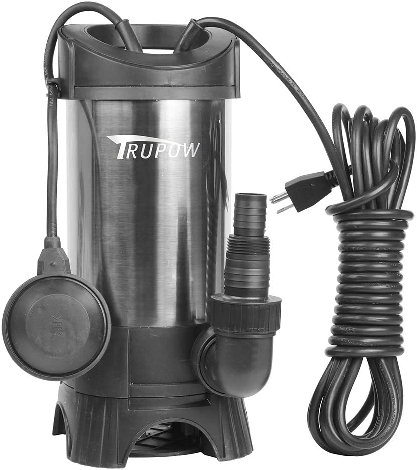 Trupow 1HP 110v Submersible Sewage Drain Flood Stainless Steel Clean/Dirty Water Sump Transfer Pond Garden Pump