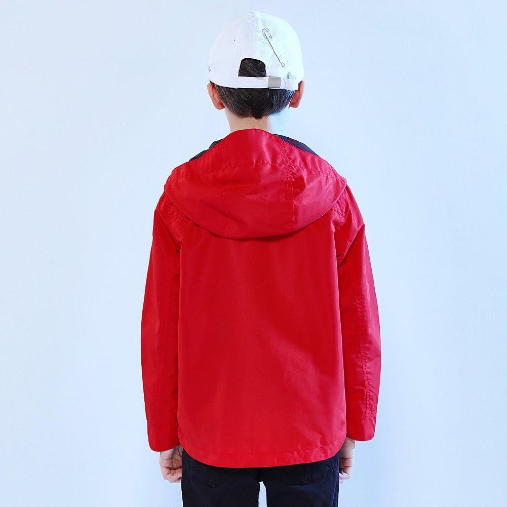 SOLOCOTE Boys Light Jacket Hooded Thin Outwear with YKK Zipper