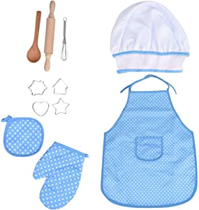 Ackful????11Pcs Kids Cooking and Baking Set Kitchen Costume Pretend Role Play Kit Apron Toy (Blue)