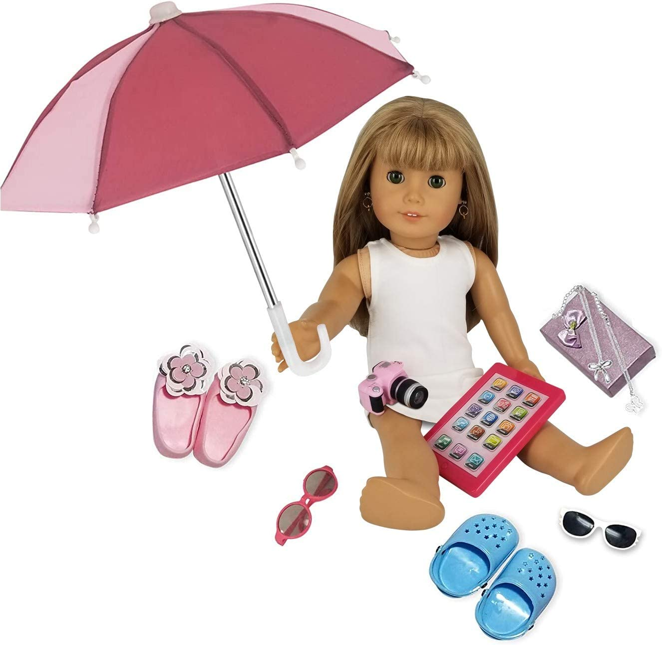 "PZAS Toys Fits American Girl Doll Accessories - 18"" Doll Accessories 11 Piece Set - Includes Doll iPad, Doll Umbrella, Doll Shoes, Jewelry, Camera and Doll Carrier!"