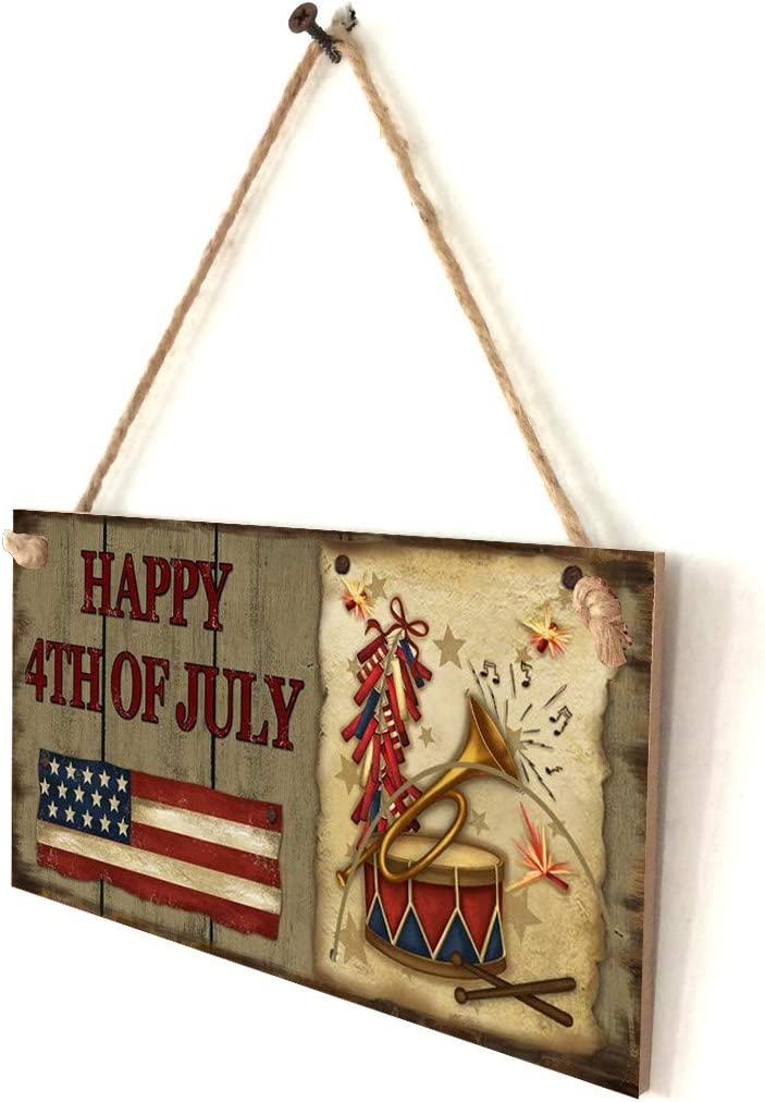 Yliquor Hanging Plaque American Flag Wood Wall Hanging Fourth of July Decor Sign God Bless America for Garden Indoor Outdoor Decor B