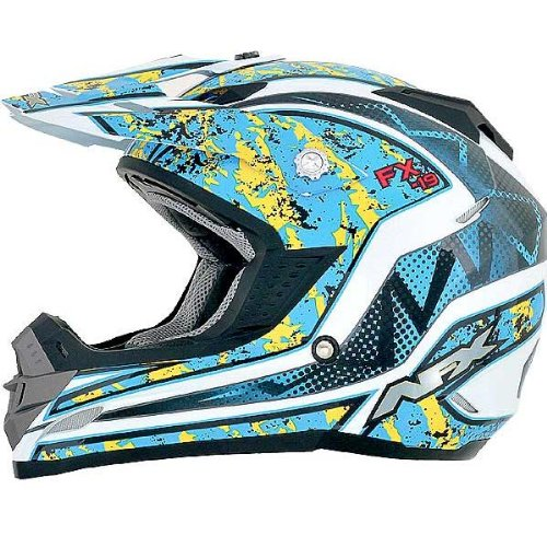 AFX FX-19 Unisex-Adult Off-Road-Helmet-Style Helmet (Vibe Blue Yellow, X-Small)