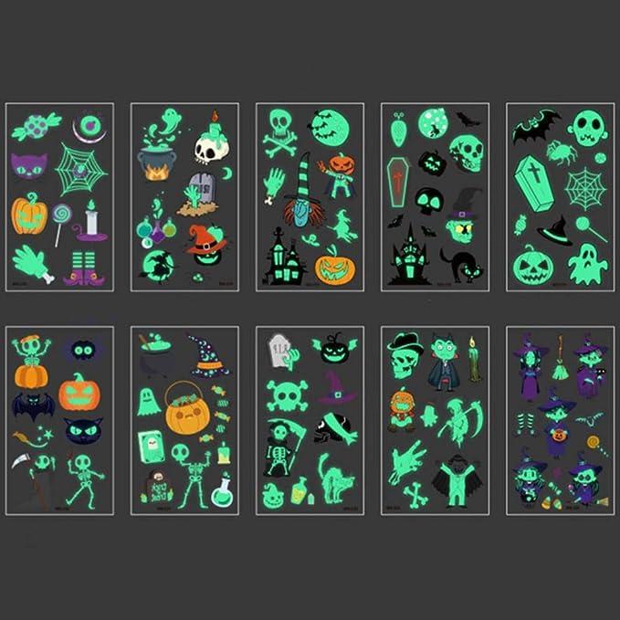 Fat Mashroom 10Pcs Halloween Luminous Tattoo Ghost para niños ...