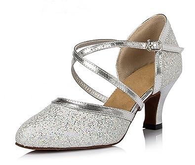 TDA Women s Closed Toe Ankle Strap Glitter Silver Synthetic Tango Latin  Modern Dance Wedding Shoes 4 b315fe0b6d74