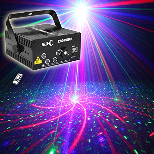 SUNY 5 Lens RGB Laser Remote-Controlled Stage Lighting Red Green Laser Light with Blue LED Sound Active Use for DJ Disco Home Show Carnival Indoor Party