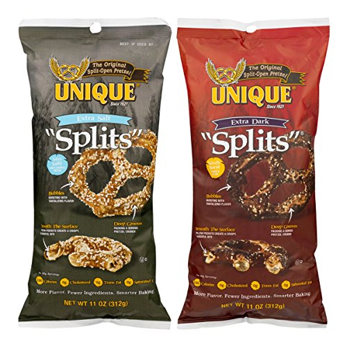 Unique Splits Variety Pack: Extra Dark and Extra Salt Pretzels, 11 Oz. Bags [1 of Each]