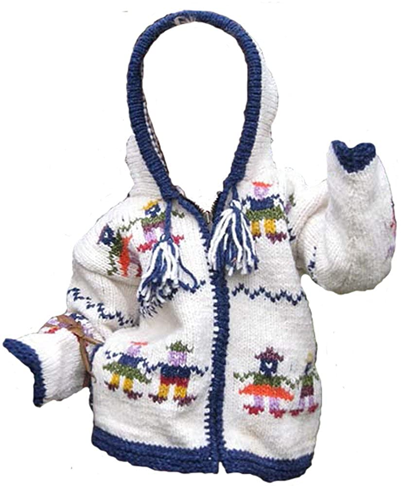 White Childs Pointy Hooded Sweater with People Holding Hands Design Infant Size