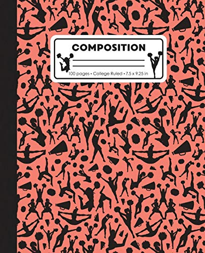 Composition: College Ruled Writing Notebook, Coral Pink Cheerleading Cheer Pattern Marbled Blank Lined Book por LilaMae Press