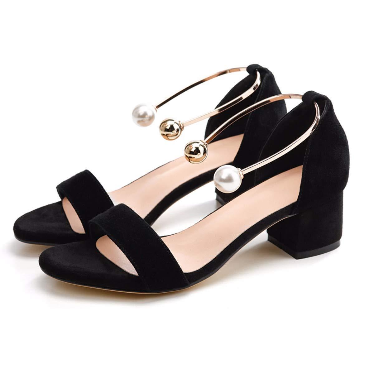 KPHY-Zwei Sandalen Weibliche Heels Nackten Wort Zehen EIN Wort Nackten Mit Dem Nahen Sexy Schuhe 5Cm 39 Schwarz  - 984e7c