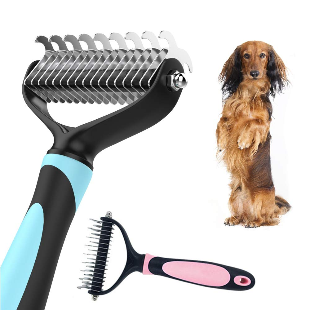 AMAZOIN 2 Pcs Pet Dematting Comb 2 Sided Stainless Steel Rake Pet Professional Grooming Tool Undercoat Rake Removes Mats Tangles and Knots for Large Medium Small Dogs Cats