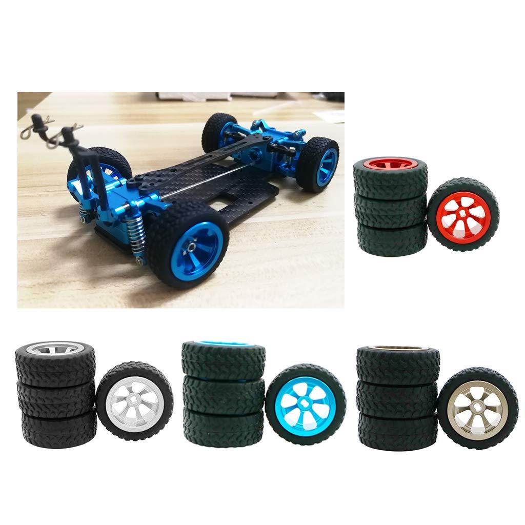 Blau Hellery 4X 1:28 30mm Gummireifen Reifen mit Metallfelge Set f/ür WLtoys RC Car K969 K989 P929 RC Crawler Auto 30mm