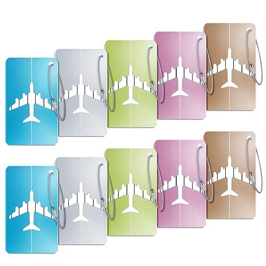 Kofferanhänger, 10 Stück Kofferanhänger Koffer Gepäckanhänger mit Namensschild Adressschild Luggage Tag aus Aluminiumlegierung