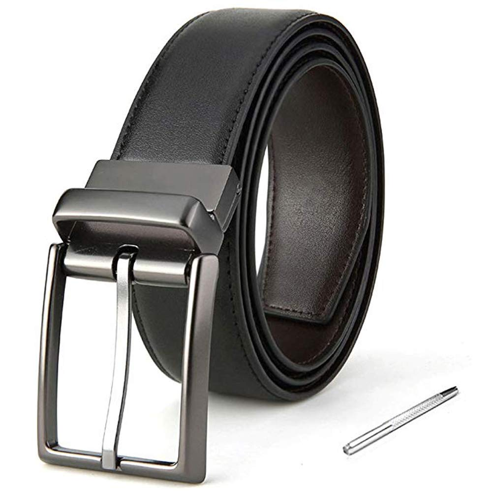 Mens Leather Belts,Reversible Black Dress Belts For Men,With Rotated Buckle Gift Box (43Zoll(Taille 30-35), black/brown)