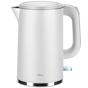 Veken Electric Kettle, 1.7L Double Wall 100% Stainless Steel Tea Water Heater Boiler, BPA-Free Cool Touch with Auto Shut-Off & Boil Dry Protection, 1.8Qt, White