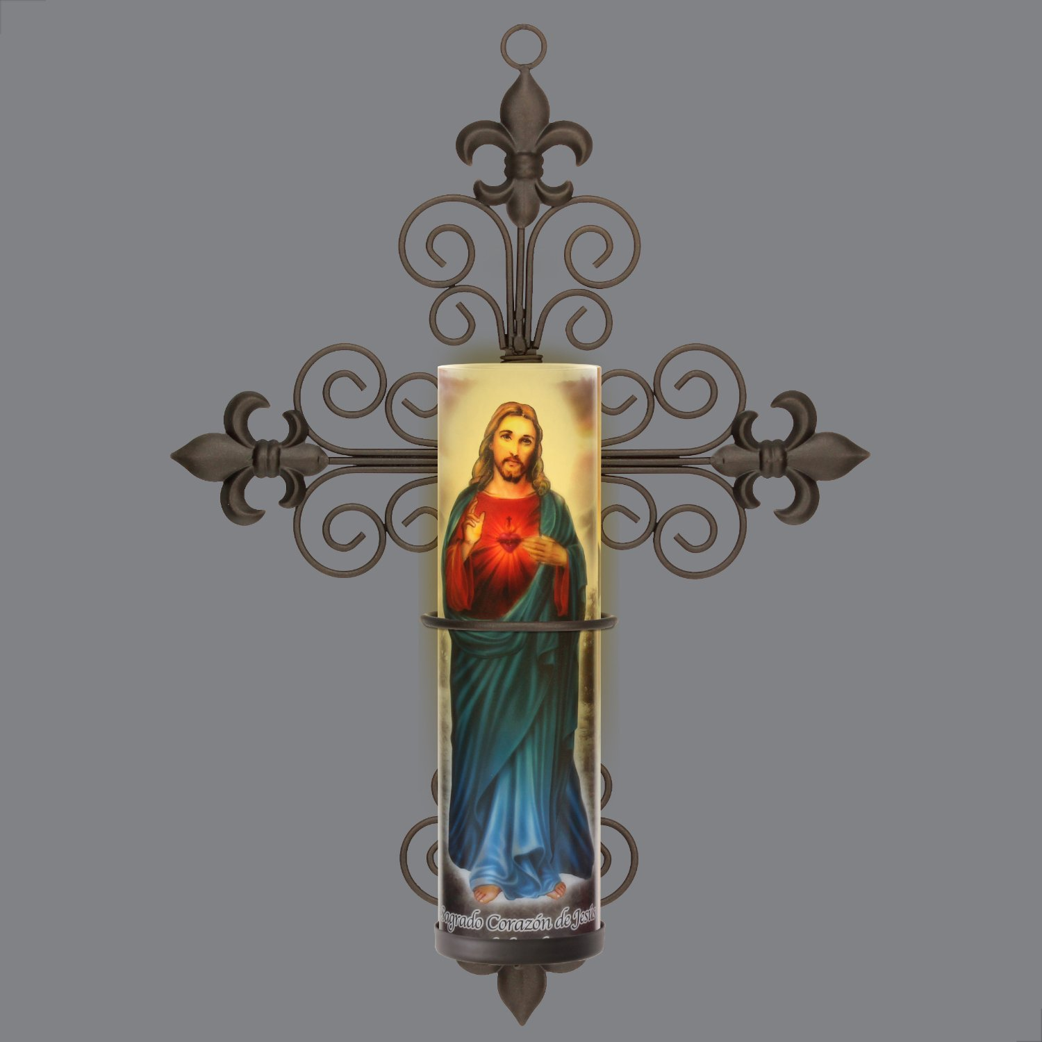 Sacred Heart of Jesus, Jesus Christ Sacred Heart, LED Flameless Devotion Prayer Candle 4 Hour Timer, Religious Gift The Saints Gift Collection SB-5260A