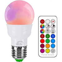 iLC LED Light Bulbs Colour Changing Dimmable 3W E27 Edison Screw A60 RGBW Lights, RGB White Coloured- Dual Memory - 12 Color Choices - Remote Controller Included