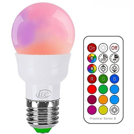 iLC Bombillas Colores RGBW LED Bombilla Cambio de Color 3W E27 Edison - RGB 12 Color