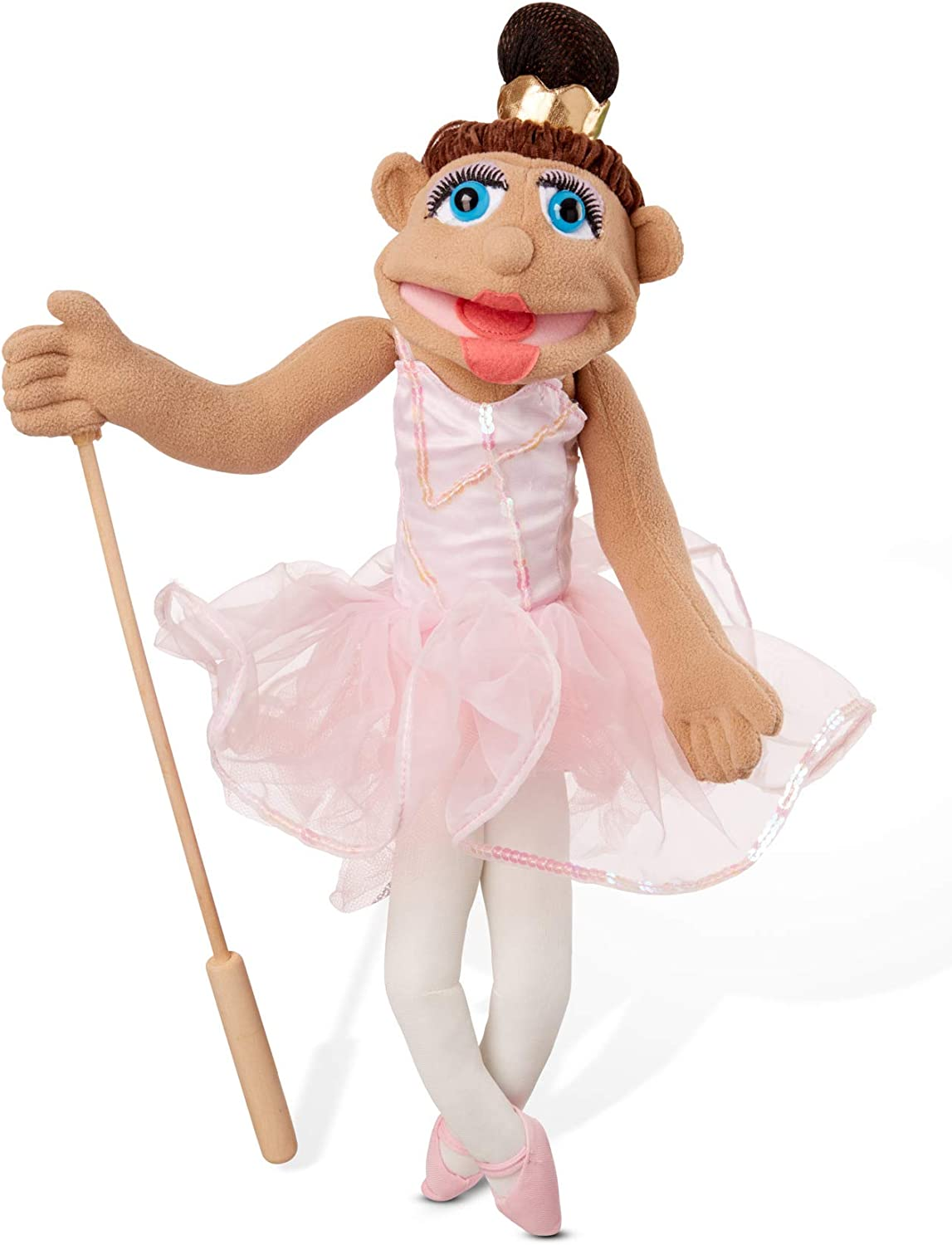 B07KBNHHTD Melissa & Doug Ballerina Puppet - Full-Body with Detachable Wooden Rod for Animated Gestures 61UqKgsXZhL
