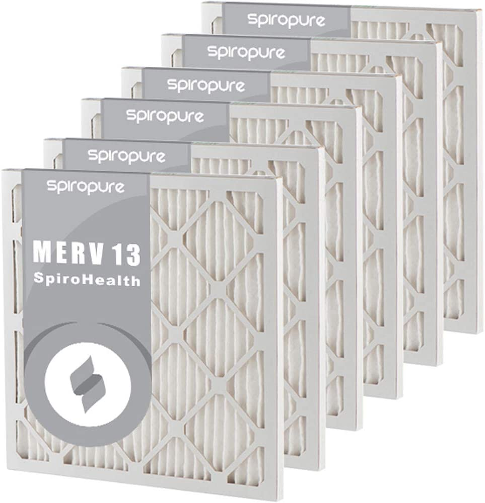 SpiroPure 16.38X21X1 MERV 8 Pleated Air Filters 6 Pack Made in USA