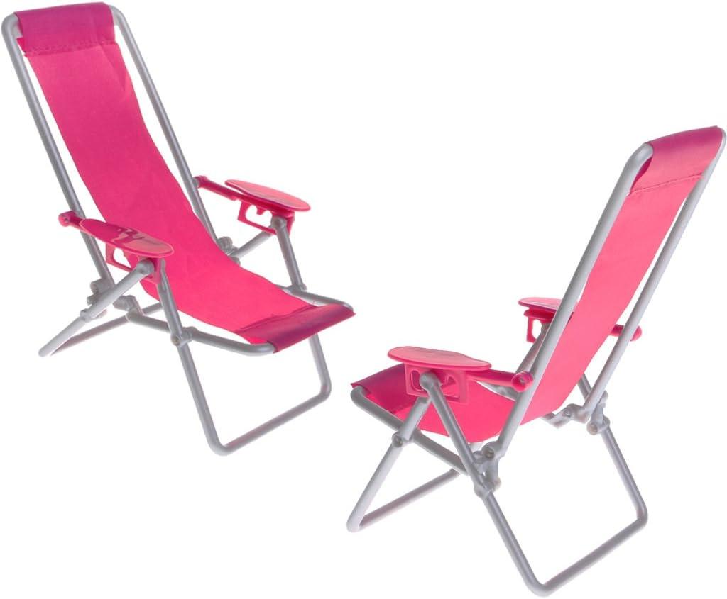 1//6 Plastic Beach Deck Chair 2pcs Set Perfeclan Dollhouse Furniture Model for Blythe Licca 1//6 BJD Dolls for Hot Toys Figures