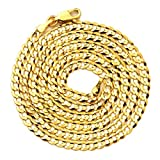 """LoveBling 10k Yellow Gold 3.5mm Plain Solid Curb Cuban Necklace W/ Lobster Lock ( 18"""" to 30"""")"""